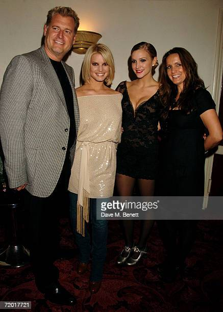 Joe and Tina Simpson with daughters Jessica and Ashlee Simpson pose backstage after Ashlee Simpson's British stage debut playing Roxie Hart in...