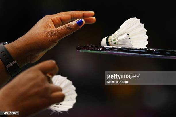 Joe Anthony of Australia gets a new shuttlecock in his Men's singles round against Sam Daniel of Ghana during Badminton on day six of the Gold Coast...