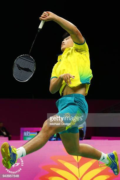 Joe Anthony of Australia plays a shot in his Men's singles round against Sam Daniel of Ghana during Badminton on day six of the Gold Coast 2018...