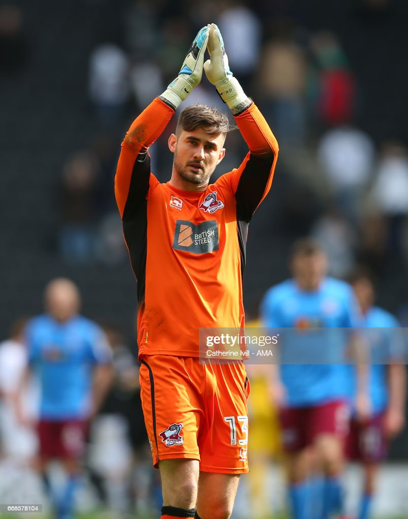 Joe Anyon of Scunthorpe United during the Sky Bet League One match between MK Dons and Scunthorpe United at StadiumMK on April 14, 2017 in Milton Keynes, England.