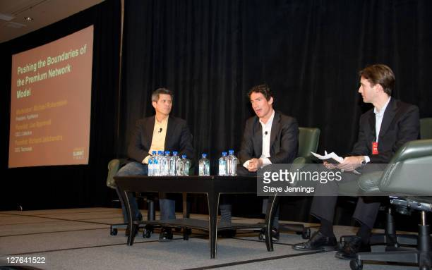 Joe Apprendi Richard Jalichandra and Michael Rubenstein speak to the crowd at the AppNexus Summit SF at the Four Seasons Hotel on April 14 2011 in...