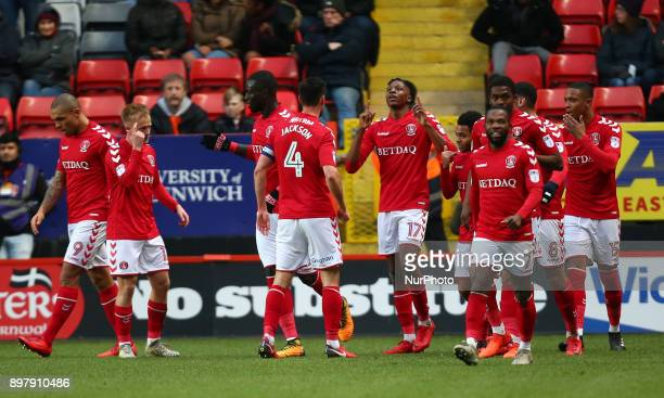 Joe Aribo of Charlton Athletic celebrates scoring his sides first goal during Sky Bet League One match between Charlton Athletic against Blackpool at...