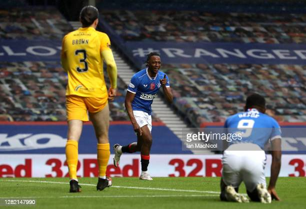 Joe Aribo of Rangers celebrates after scoring his sides first goal during the Ladbrokes Scottish Premiership match between Rangers and Livingston at...