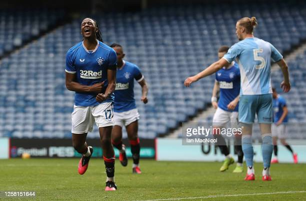 Joe Aribo of Rangers celebrates after scoring the opening goal during the pre season friendly match between Rangers and Coventry City at Ibrox...