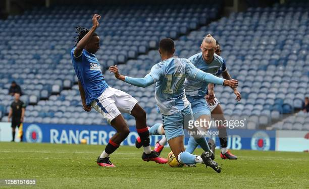Joe Aribo of Rangers scores the opening goal during the pre season friendly match between Rangers and Coventry City at Ibrox Stadium on July 25 2020...