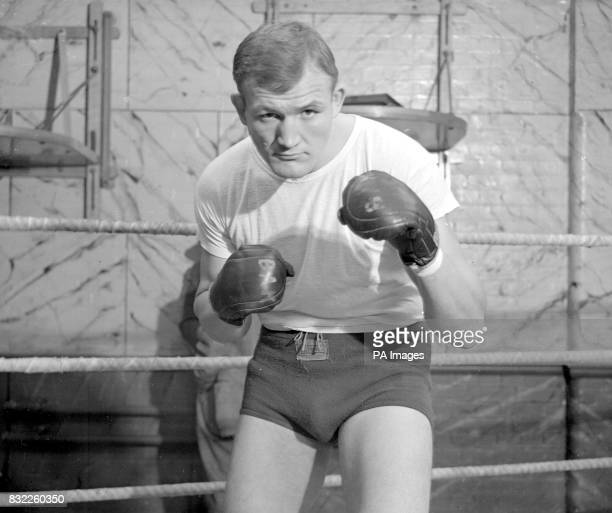 Joe Baksi the American heavyweight who is in England for his fight a against Freddie Mills a the Royal Albert Hall next moth here at Jack Solomon's...