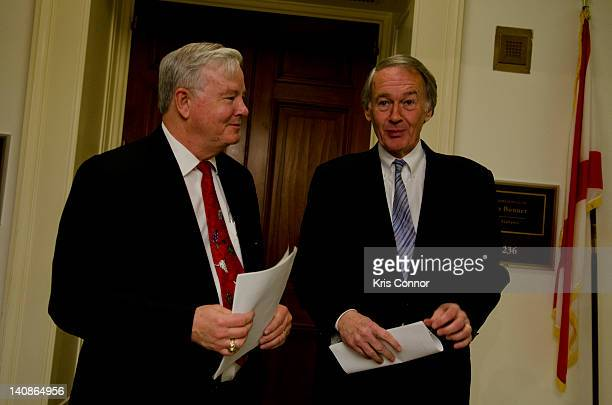 Joe Barton and Edward Markey speak before a Congressional Briefing on Protecting Children and Teen Online Privacy at the Rayburn House Office...