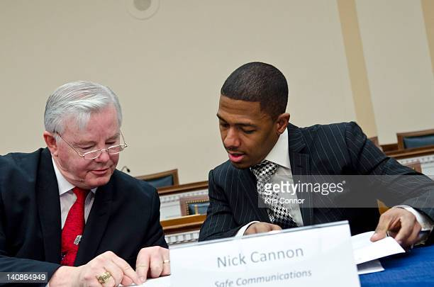Joe Barton and Nick Cannon speak to each other during a Congressional Briefing on Protecting Children and Teen Online Privacy at the Rayburn House...