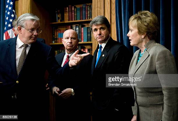 Joe Barton gestures toward Representative Kay Granger while Representatives Kevin Brady and Michael McCaul listen during a news conference on Capitol...