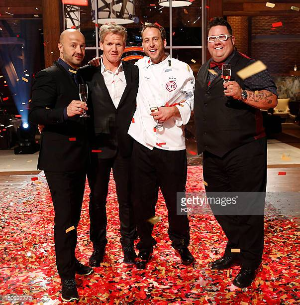 Joe Bastianich Gordon Ramsay winning contestant Luca and Graham Elliot on the Season Finale of MASTERCHEF airing Wednesday Sep 11 2013 on FOX