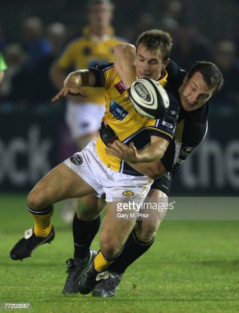 Joe Bedford of leeds Carnegie is tackled by John Rudd of Newcastle Falcons during the Guinness Premiership match between newcastle Falcons and Leeds...
