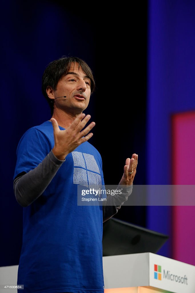 Joe Belfiore, corporate vice president, operating systems group at Microsoft, speaks on stage during the 2015 Microsoft Build Conference on April 29, 2015 at Moscone Center in San Francisco, California. Thousands are expected to attend the annual developer conference which runs through May 1.