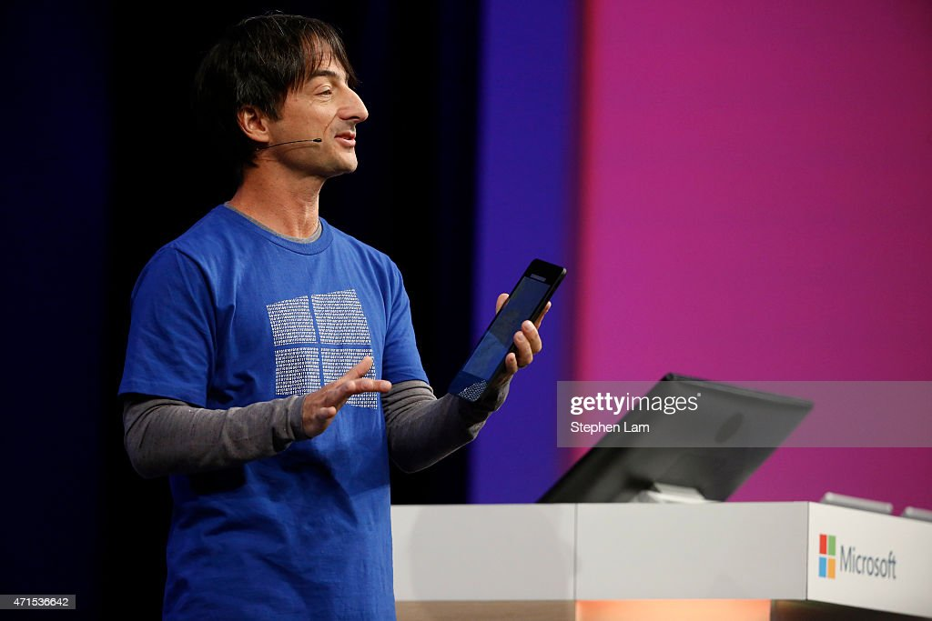 Joe Belfiore, corporate vice president, operating systems group at Microsoft, demonstrates Continuum for phones during the 2015 Microsoft Build Conference on April 29, 2015 at Moscone Center in San Francisco, California. Thousands are expected to attend the annual developer conference which runs through May 1.