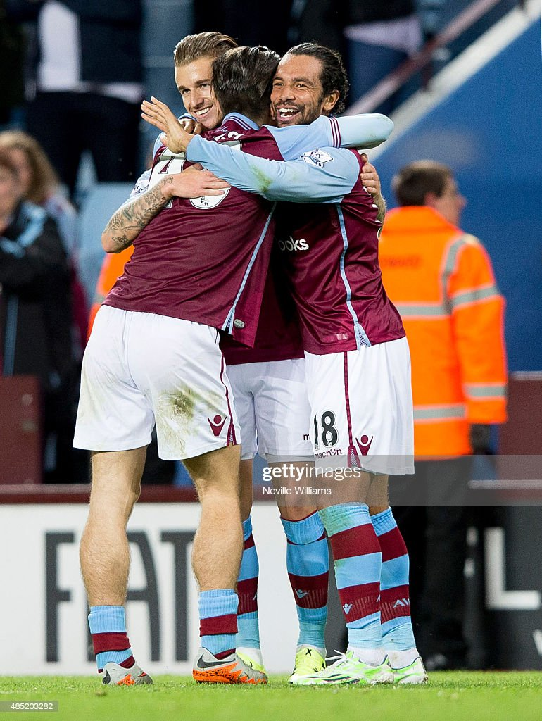 Joe Bennett of Aston Villa celebrates his goal for Aston Villa during the Capital One Cup Second Round match between Aston Villa and Notts County at Villa Park on August 25, 2015 in Birmingham, England.