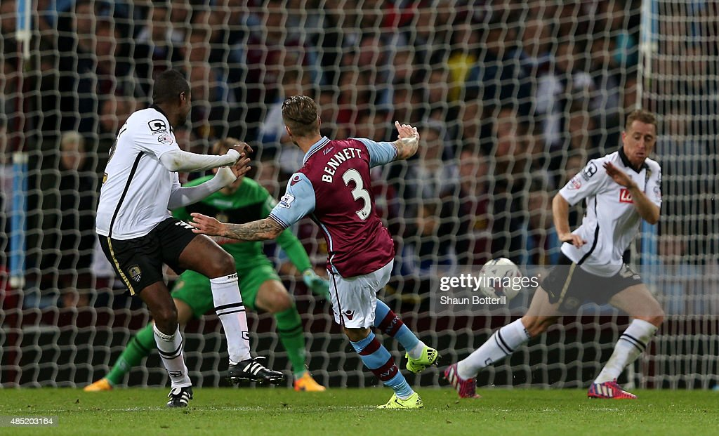 Joe Bennett of Aston Villa scores his team's fifth goal during the Capital One Cup second round match between Aston Villa and Notts County at Villa Park on August 25, 2015 in Birmingham, England.