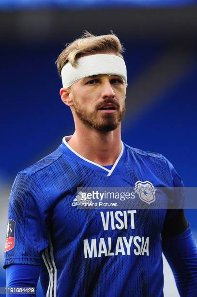 Joe Bennett of Cardiff City during the FA Cup third round match between Cardiff City and Carlisle United at the Cardiff City Stadium on January 04...