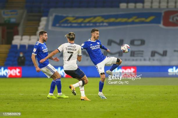 Joe Bennett of Cardiff City FC and Harry Cornick of Luton Town during the Sky Bet Championship match between Cardiff City and Luton Town at Cardiff...