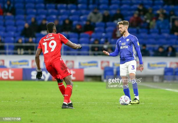 Joe Bennett of Cardiff City FC and Sammy Ameobi of Nottingham Forest during the Sky Bet Championship match between Cardiff City and Nottingham Forest...