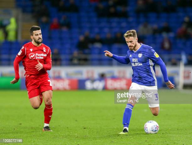 Joe Bennett of Cardiff City FC and Yuri Ribeiro of Nottingham Forest during the Sky Bet Championship match between Cardiff City and Nottingham Forest...