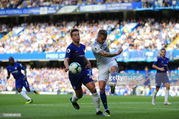 Joe Bennett of Cardiff City in action with Cesar Azpilicueta of Chelsea during the Premier League match between Chelsea FC and Cardiff City at...