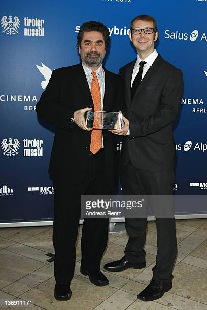 Joe Berlinger and Jason Baldwin pose at the Winners Boards at the Cinema for Peace Gala at the Konzerthaus Am Gendarmenmarkt during day five of the...