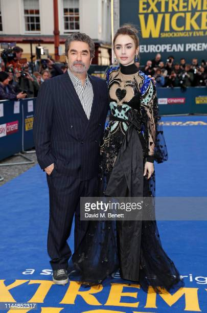 """Joe Berlinger and Lily Collins attend the European Premiere of """"Extremely Wicked, Shockingly Evil And Vile"""" at The Curzon Mayfair on April 24, 2019..."""