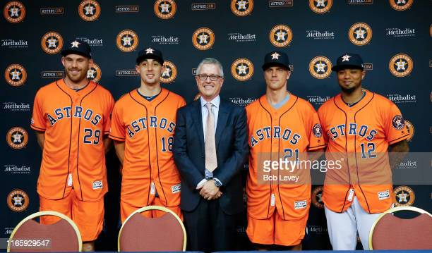 Joe Biagini Aaron Sanchez Houston Astros general manager Jeff Luhnow Zack Grienke and Martin Maldonado of the Houston Astros are introduced during a...