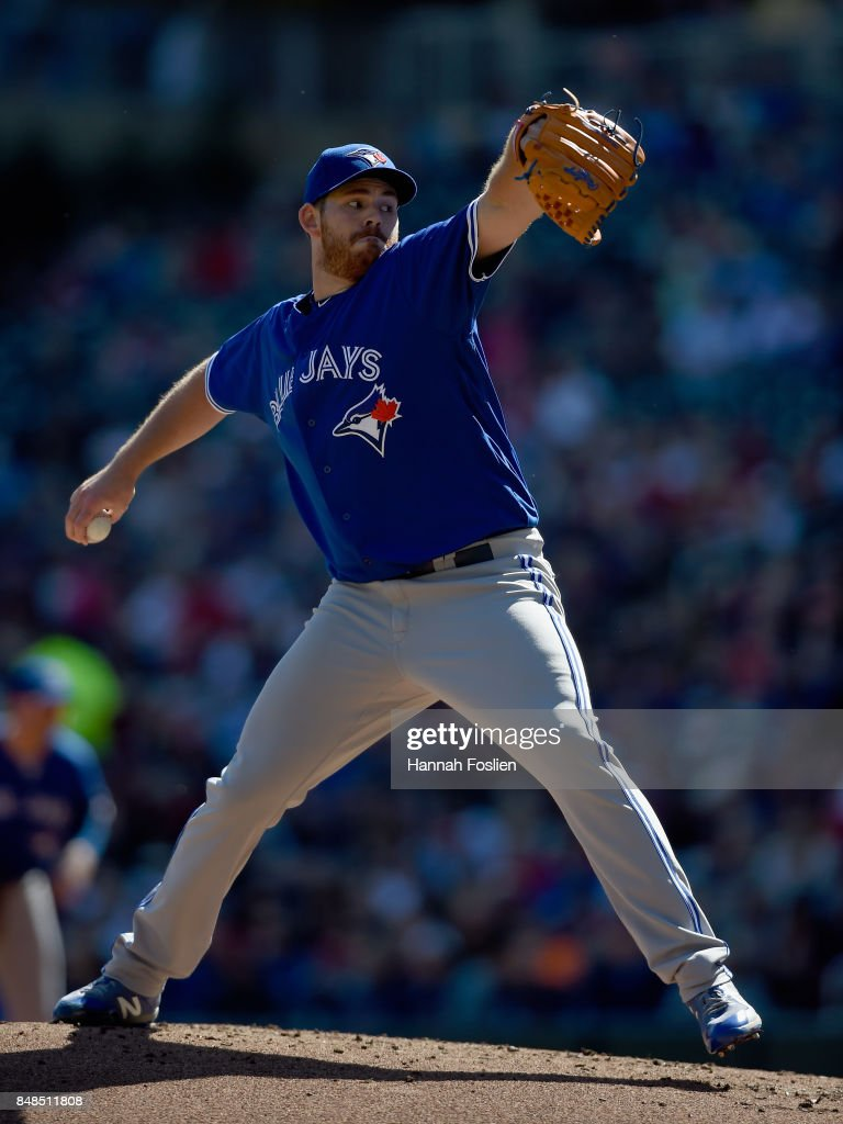 Joe Biagini #31 of the Toronto Blue Jays delivers a pitch against the Minnesota Twins during the first inning of the game on September 17, 2017 at Target Field in Minneapolis, Minnesota.
