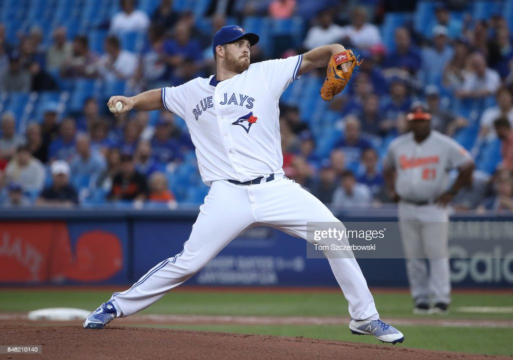 Joe Biagini #31 of the Toronto Blue Jays delivers a pitch in the first inning during MLB game action against the Baltimore Orioles at Rogers Centre on September 12, 2017 in Toronto, Canada.