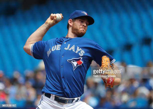 Joe Biagini of the Toronto Blue Jays delivers a pitch in the second inning during MLB game action against the Oakland Athletics at Rogers Centre on...