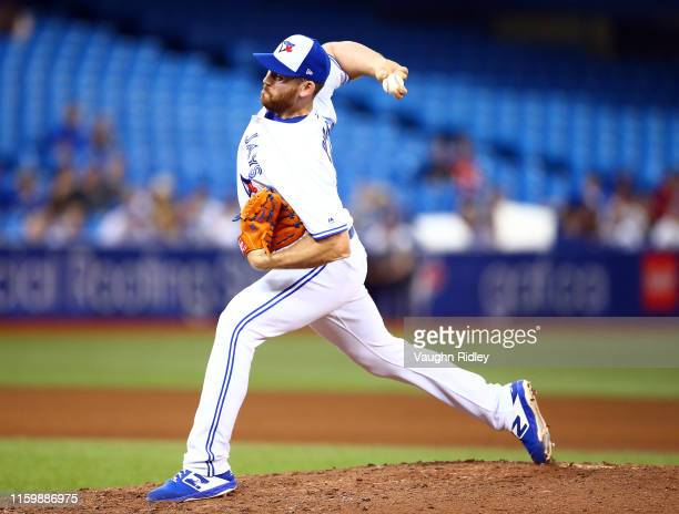 Joe Biagini of the Toronto Blue Jays delivers a pitch in the seventh inning of a MLB game against the Kansas City Royals at Rogers Centre on June 28...