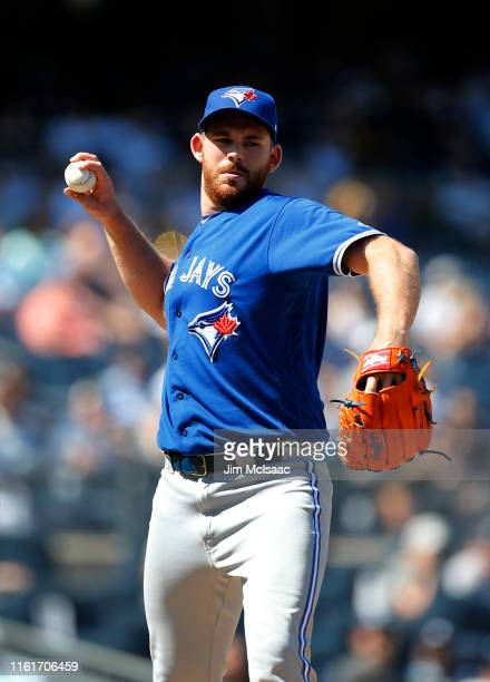 Joe Biagini of the Toronto Blue Jays in action against the New York Yankees at Yankee Stadium on June 26 2019 in New York City The Yankees defeated...
