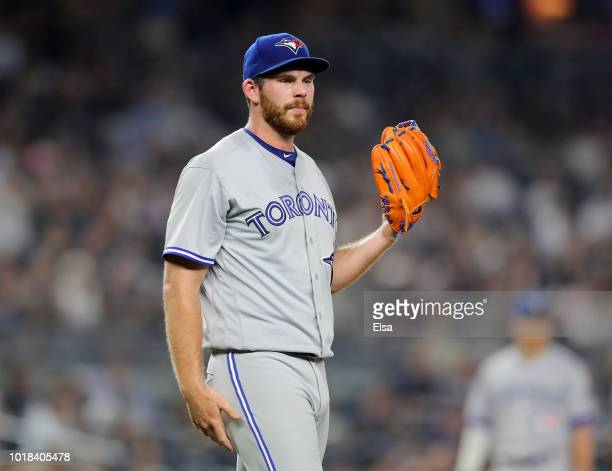 Joe Biagini of the Toronto Blue Jays looks on in the fifth inning against the New York Yankees at Yankee Stadium on August 17 2018 in the Bronx...