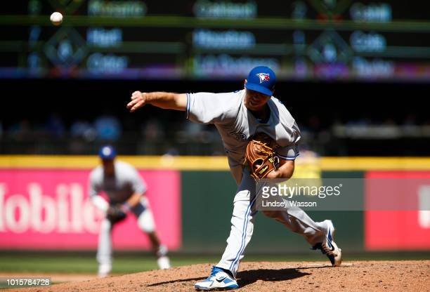 Joe Biagini of the Toronto Blue Jays pitches against the Seattle Mariners in the sixth inning at Safeco Field on August 5 2018 in Seattle Washington...