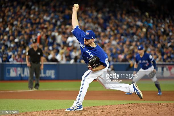 Joe Biagini of the Toronto Blue Jays pitches during Game 5 of the ALCS against the Cleveland Indians at the Rogers Centre on Wednesday October 19...