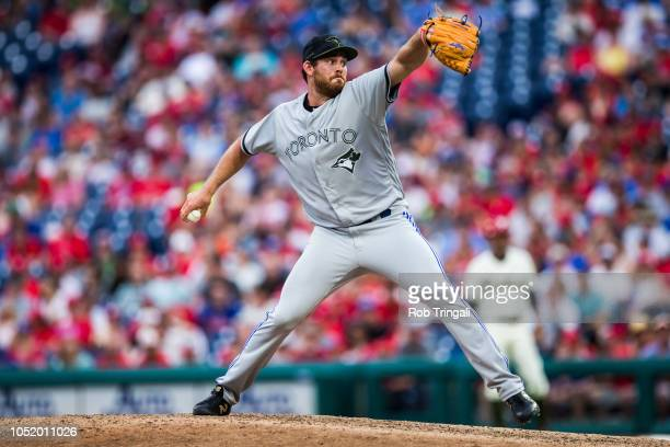 Joe Biagini of the Toronto Blue Jays pitches during the game against the Philadelphia Phillies at Citizens Bank Park on Saturday May 26 2018 in...