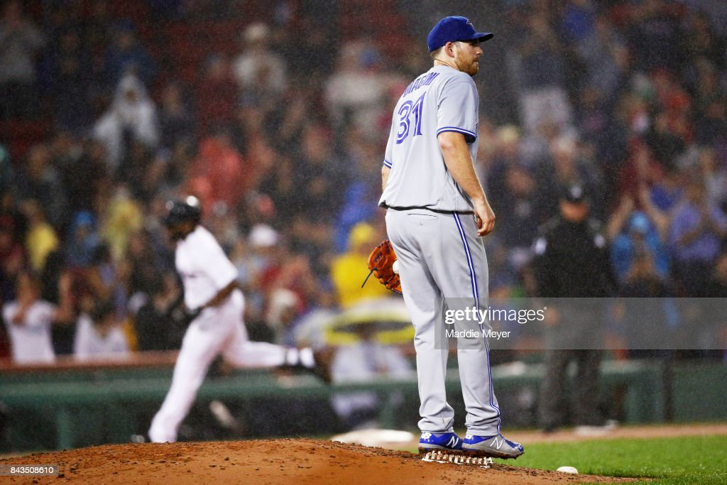 Joe Biagini #31 of the Toronto Blue Jays reacts as Jackie Bradley Jr. #19 of the Boston Red Sox rounds the bases after hitting a two run home run during the fourth inning at Fenway Park on September 6, 2017 in Boston, Massachusetts.