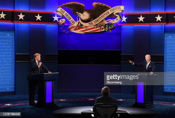 Joe Biden, 2020 Democratic presidential nominee, right, and U.S. President Donald Trump, left, speak during the first U.S. Presidential debate hosted...