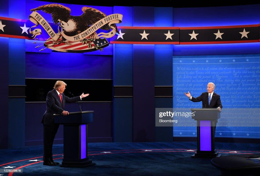 Final U.S. Presidential Debate Between President Trump And Democratic Candidate Joe Biden : News Photo