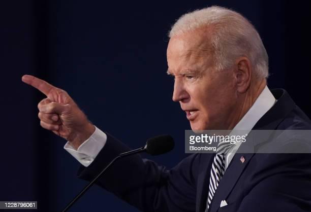 Joe Biden, 2020 Democratic presidential nominee, speaks during the first U.S. Presidential debate hosted by Case Western Reserve University and the...