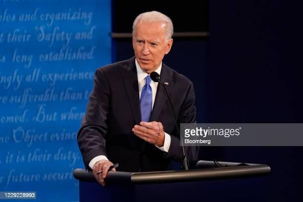 Joe Biden, 2020 Democratic presidential nominee, speaks during the U.S. Presidential debate at Belmont University in Nashville, Tennessee, U.S., on...
