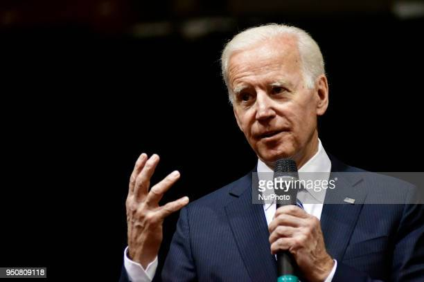 Joe Biden 47th vicepresident of the United States delivers a speech in the Carfagno Lecture series about public service and leadership to students...