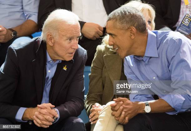 Joe Biden and Barack Obama watch the wheelchair basketball on day 7 of the Invictus Games Toronto 2017 on September 29 2017 in Toronto Canada The...