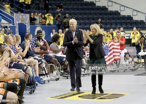 Joe Biden and Jill Biden congratulate the competitors at the Wheelchair Basketball Finals during the Invictus Games 2017 at Mattamy Athletic Centre...