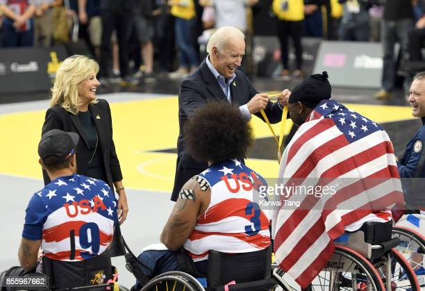 Joe Biden and Jill Biden present the gold medals to the USA team at the Wheelchair Basketball Finals on day 8 of the Invictus Games Toronto 2017 at...