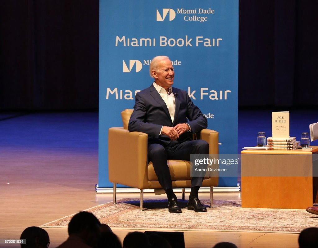 Joe Biden attends 2017 Miami Book Fair on November 18, 2017 in Miami, Florida.