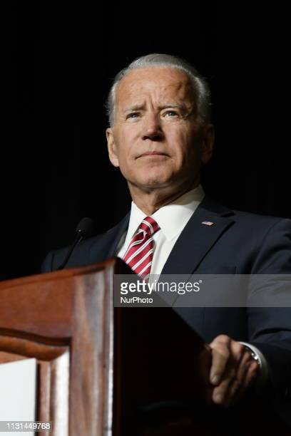 Joe Biden delivers the keynote speech at the First State Democratic Dinner at the Rollins Center in Dover DE on March 16 2019