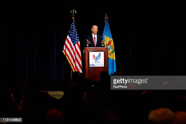 Joe Biden delivers the keynote speech at the First State Democratic Dinner at the Rollins Center in Dover DE on March 16 2019 The former US Vice...