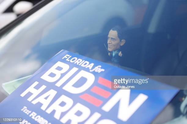 Joe Biden for President supporter Susan Lynn keeps a President Barack Obama bobblehead in her truck while he campaigns for Democratic presidential...