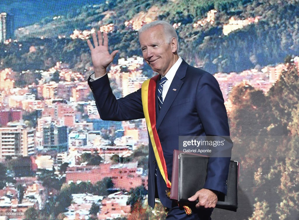 Joe Biden, Former Vice president of the United States says good bye after the main speech as part of the 2018 Concordia Americas Summit day 2 at Agora Bogota Convention Center on July 17, 2018 in Bogota, Colombia.